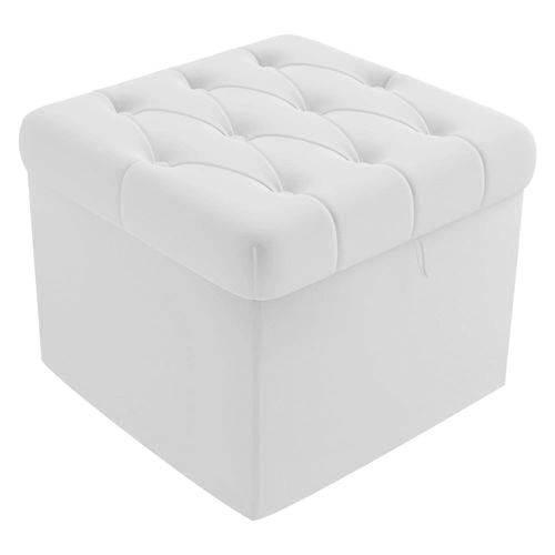 Puf Puff Banco Baú Lia Capitonê Decorativo Sala Quarto Suede Branco