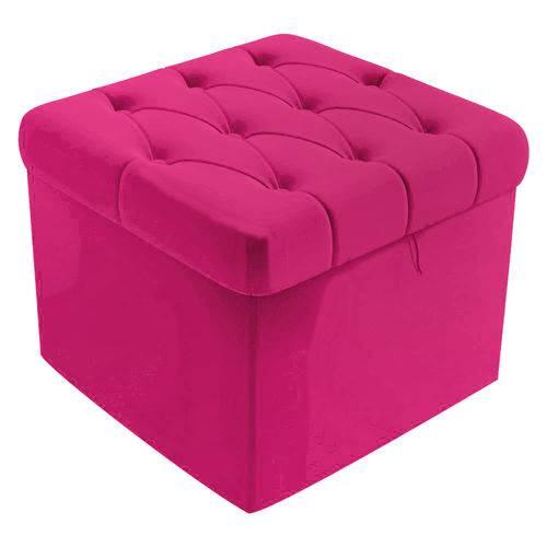 Puf Baú Capitonê 51cm Decorativo Sala de Estar Recepção Corino Pink - AM DECOR