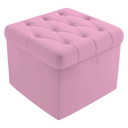 Puf Baú Capitonê 51cm Decorativo Sala de Estar Recepção Corino Rosa Bb - AM DECOR