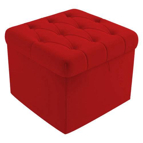 Puf Baú Capitonê 51cm Decorativo Sala de Estar Recepção Corino Vermelho - AM DECOR