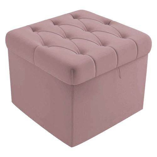 Puf Baú Capitonê 51cm Decorativo Sala de Estar Recepção Suede Rose - AM DECOR
