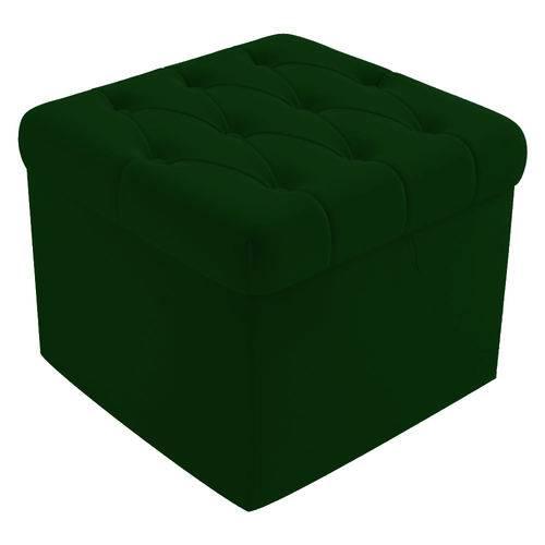 Puf Puff Banco Baú Lia Capitonê Decorativo Sala Quarto Suede Verde