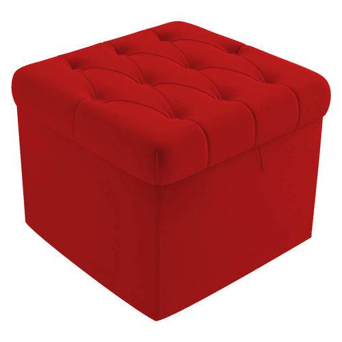Puf Baú Capitonê 51cm Decorativo Sala de Estar Recepção Suede Vermelho - AM DECOR