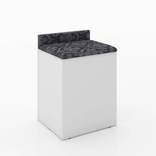 Puff Baú com Encosto Tecno Mobili Branco/Preto