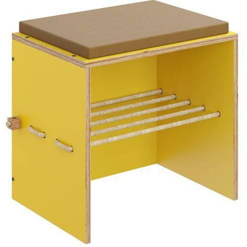 Puff com Futon e Prateleira Corda Sisal Cordel Amarelo - Be Mobiliário