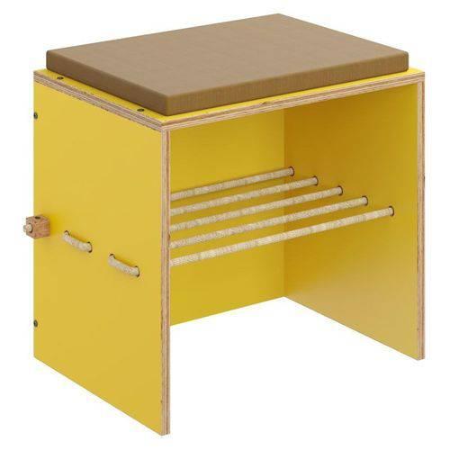 Puff Cordel 1004 com Futon e Corda Amarelo - Be Mobiliário