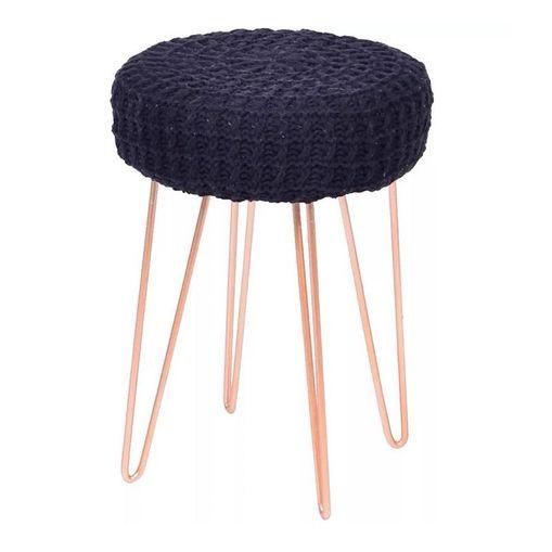 Puff de Croche Preto com Base em Metal 6631 Or Design