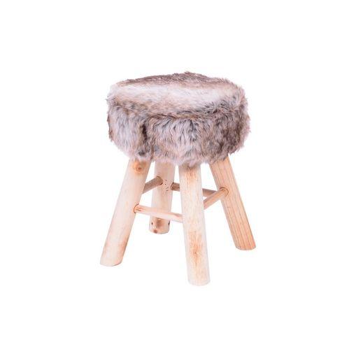 Puff de Madeira com Assento em Pelúcia Mesclada 6620 Or Design