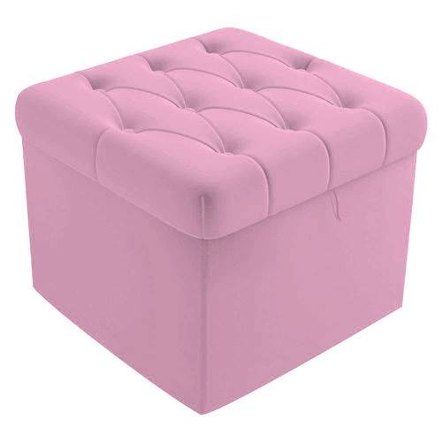 Puff Puf Baú Capitonê 51cm Decorativo Sala Quarto Recepção Corino Rosa Bb - AM DECOR