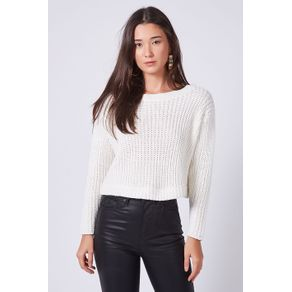 Pull Tricot Cropped Off White - P