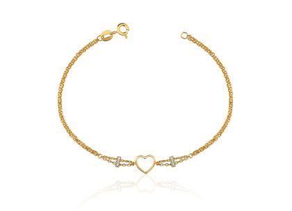 Pulseira Coração e Amor Ouro Amarelo