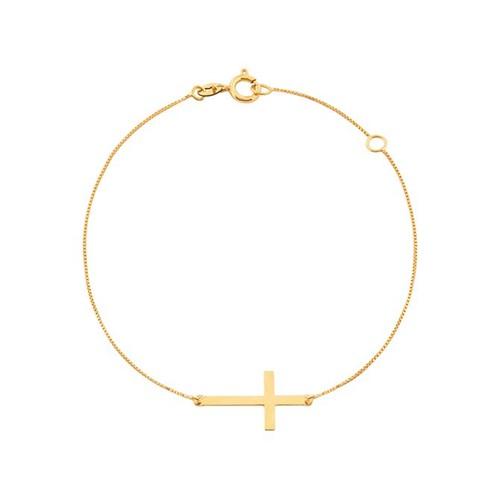 Pulseira Cruz Deitada Ouro 18k 750