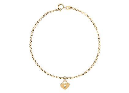 Pulseira de Cadeado Coração Ouro Amarelo