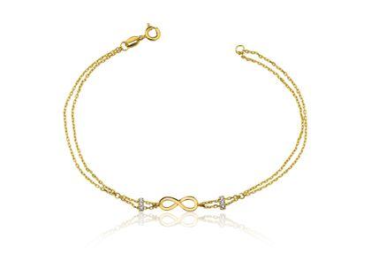 Pulseira de Infinito com Diamantes Ouro Amarelo