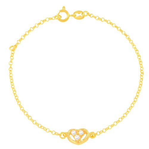 Pulseira em Ouro 18K Coração com Zircõnias - AU5598