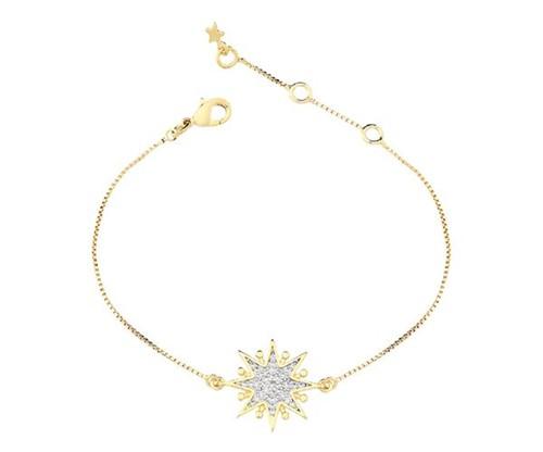 Pulseira Estrela Cravejada Cristais Banhado a Ouro 18k