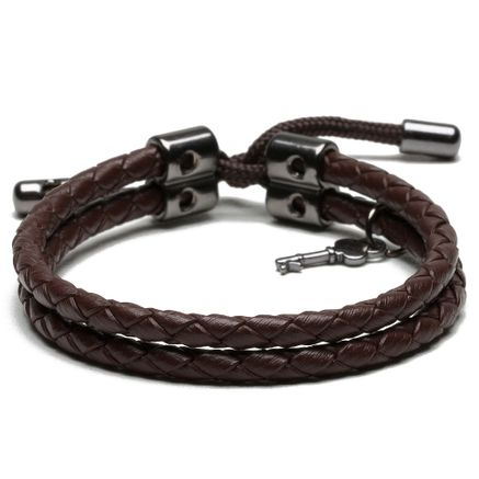 Pulseira Masculina Key Design Voulge Ônix - Brown