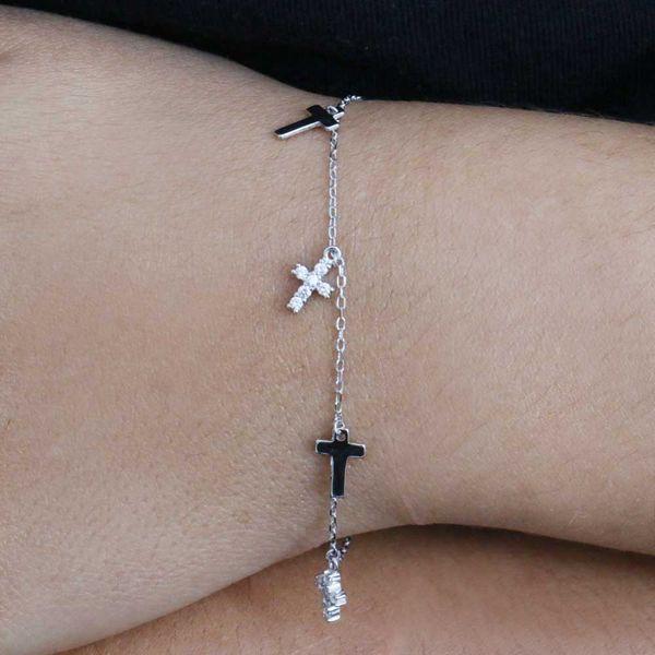 Pulseira Prata 925 Cruz Cravejada em Zircônia