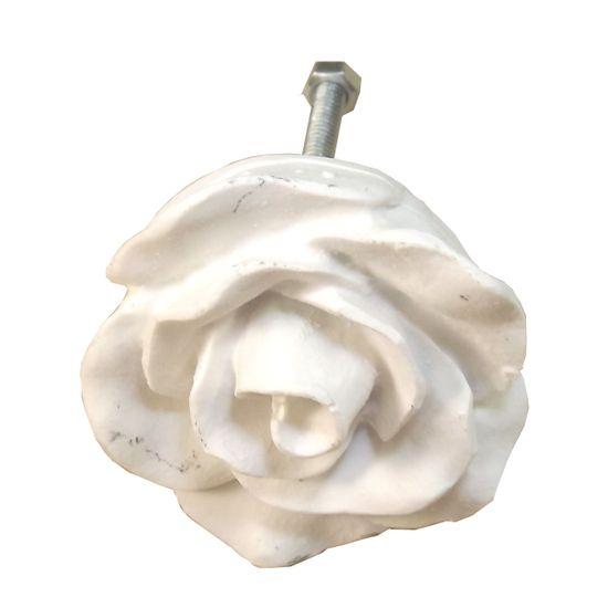 Puxador de Gaveta Botão Rosa Médio Resina Branca