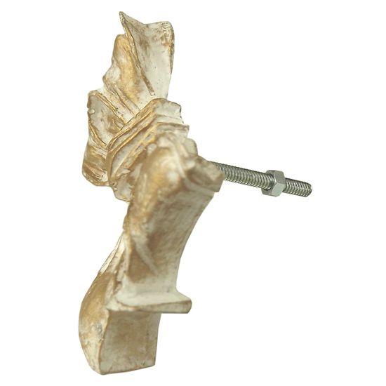 Puxador de Gaveta Laço 5x7 Resina Branco e Dourado