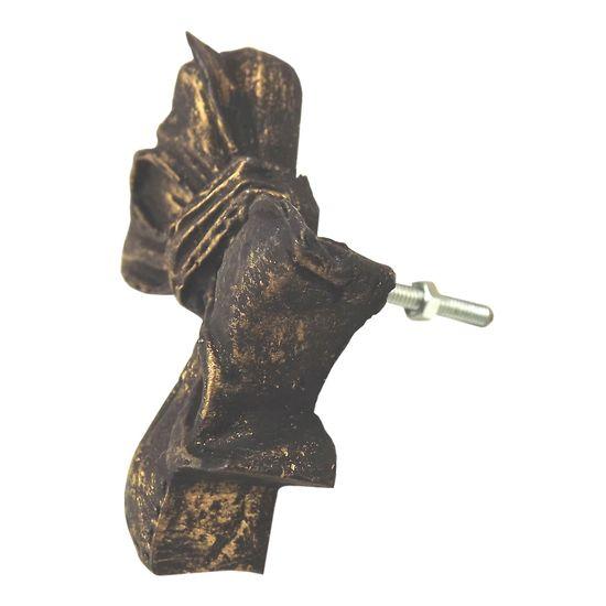 Puxador de Gaveta Laço 5x7 Resina Preto e Dourado
