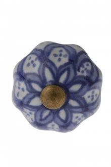 Puxador Indiano de Cerâmica com Detalhes Azuis- Amecasa
