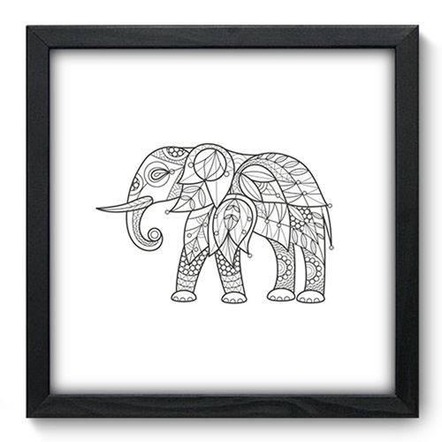 Quadro com Moldura - 33x33 - Elefante - N3210
