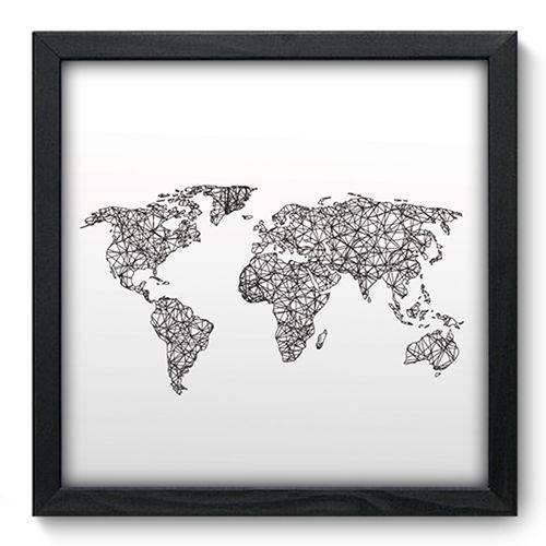 Quadro com Moldura - 33x33 - Mapa Mundi - N3092