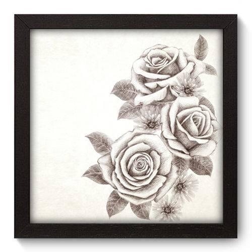 Quadro com Moldura - 22x22 - Rosas - N2