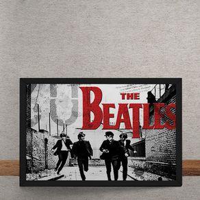 Quadro Decorativo Beatles Correndo Logo Vermelho 25x35
