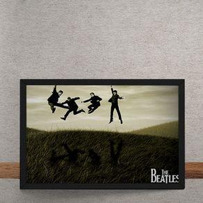 Quadro Decorativo Beatles Pulando na Grama 25x35