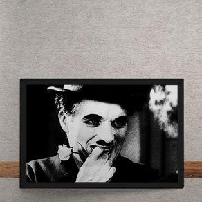 Quadro Decorativo Charles Chaplin Rosa Tempos Modernos 25x35