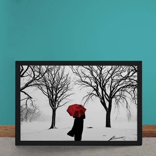 Quadro Decorativo Guarda Chuva Vermelho na Neve
