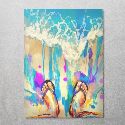 Quadro Decorativo Infantil Canvas Pés no Mar