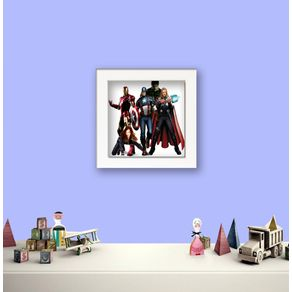 Quadro Decorativo Infantil os Vingadores Infantil 17 Branca