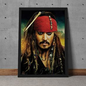 Quadro Decorativo Johnny Depp Jack Sparrow Piratas do Caribe 35x25