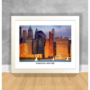 Quadro Decorativo Manhattan - New York Nova York 01 Branca