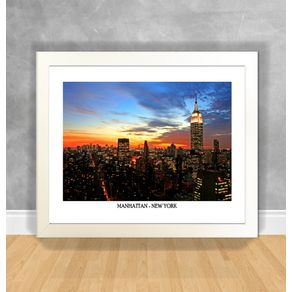 Quadro Decorativo Manhattan - New York Nova York 48 Branca