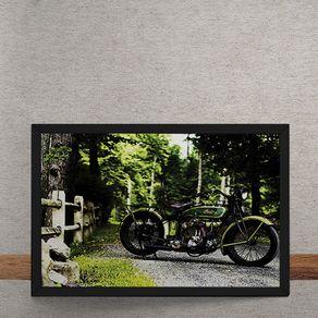 Quadro Decorativo Moto Custom Verde 25x35