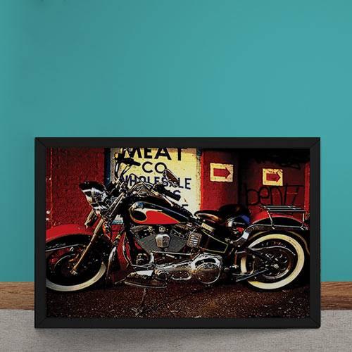 Quadro Decorativo Moto Custom Vermelha