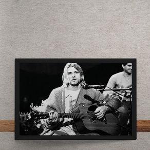Quadro Decorativo Nirvana Kurt Cobain Violao Preto e Branco 25x35