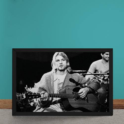 Quadro Decorativo Nirvana Kurt Cobain Violao Preto e Branco