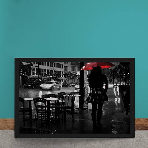 Quadro Decorativo Noite Chuvosa Guarda Chuva Vermelho