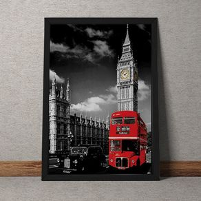 Quadro Decorativo Onibus Ingles e Big Ben 35x25