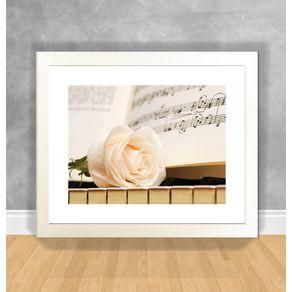 Quadro Decorativo Piano Partitura e Rosa Instrumentos Musicais 70 Branca