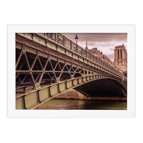 Quadro Foto Paris Ponte Moldura Branca 22x32cm