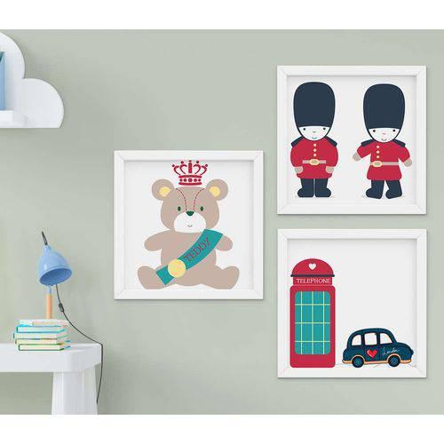 Quadro Infantil Londres Kit 3 Peças