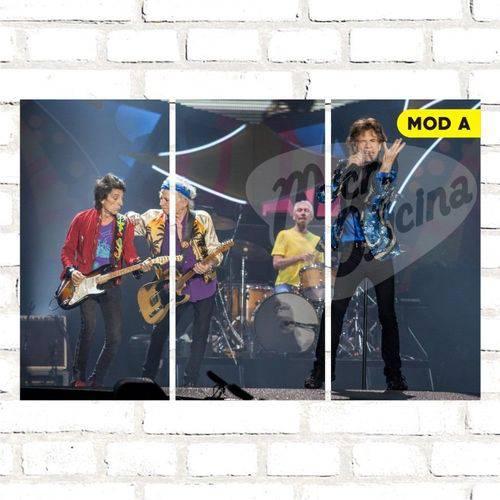 Quadro Triplo Decorativo - Rolling Stones - Modelo a
