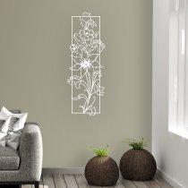 Quadro Vazado Decorativo Flores em MDF - Branco - CD010