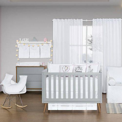 Quarto de Bebê Blanc Rosa 17 Peças